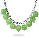 果绿色亚克力圆珠项链