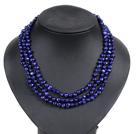 深蓝色土豆形珍珠三层项链