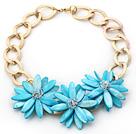 水晶蓝贝壳花朵项链