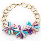 水晶彩色贝壳花朵项链