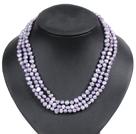 浅紫色土豆形珍珠三层项链