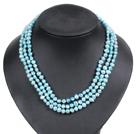 浅蓝色土豆形珍珠三层项链