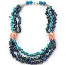 天然蓝晶石青金石松石项链 三层随形款