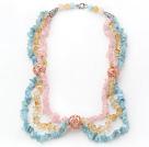 海蓝宝黄水晶粉晶项链