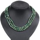 草绿色土豆形珍珠三层项链