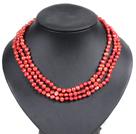 亮红色土豆形珍珠三层项链