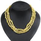 黄色土豆形珍珠三层项链