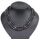 黑色土豆形珍珠三层项链