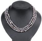 灰色土豆形珍珠三层项链