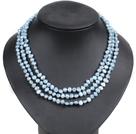 天蓝色土豆形珍珠三层项链