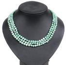 浅绿色土豆形珍珠三层项链