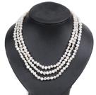 白色土豆形珍珠三层项链
