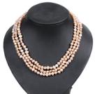 粉色土豆形珍珠三层项链
