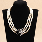 三层亮光白珍珠项链