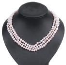 浅粉色土豆形珍珠三层项链