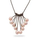 粉色珍珠项链 皮绳吊坠款