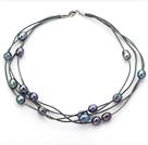 黑珍珠皮绳项链