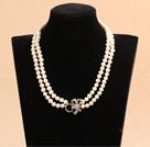双层亮光白珍珠项链