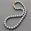 银灰珍珠项链 镀金扣 简约单层珠链款