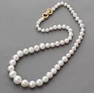 白珍珠塔链 镀金锆钻扣