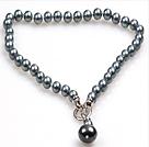 10mm灰黑色海贝珠吊坠项链(吊坠可拆卸)