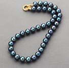 A级蓝光黑珍珠项链 镀金锆钻扣 简约单层珠链款