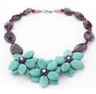 紫晶松石红玛瑙珍珠项链 编花款