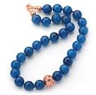 刻面蓝玛瑙项链 简约单层圆珠款