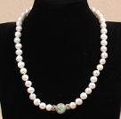 白珍珠葡萄石项链