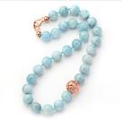 天然海蓝宝项链 简约单层圆珠款