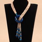 粉珍珠蓝玛瑙长款项链