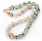 月光石葡萄石项链 简约单层圆珠款