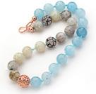 海绵蓝晶火玛瑙项链 简约单层款