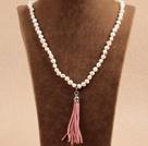 土豆形珍珠流苏项链