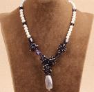 白珍珠紫水晶项链