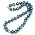 新款蓝绿色海贝珠钻球项链 简约单层珠链款
