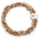 珍珠图画石金发晶项链 多股扭扭独特花扣款