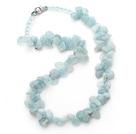 水晶海蓝宝三七孔项链 简约单层随形款