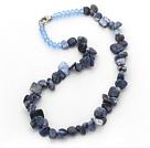 水晶蓝纹石三七孔项链 简约单层随形款