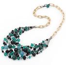 水晶黑玛瑙贝壳珠项链