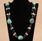 珍珠松石黑玛瑙项链
