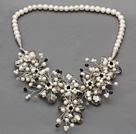 白珍珠灰色水晶花朵项链