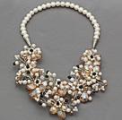 珍珠香槟色水晶项链