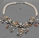 珍珠水晶花朵项链 编花款