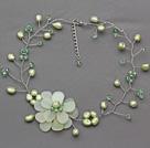 绿色珍珠秀玉花朵项链 编花款