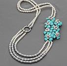 白珍珠松石花朵项链