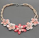 珍珠贝壳花朵项链