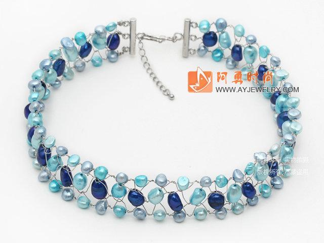 蓝色系珍珠编织项链