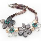 玛瑙水晶贝壳绿松石项链 欧美时尚饰品 编花款