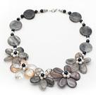 海绵晶贝壳水晶珍珠项链 编花款